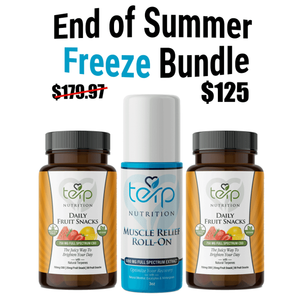This image shows our EOS Freeze bundle. With 2 bottles of fruit snacks and 1 muscle relief roll on.