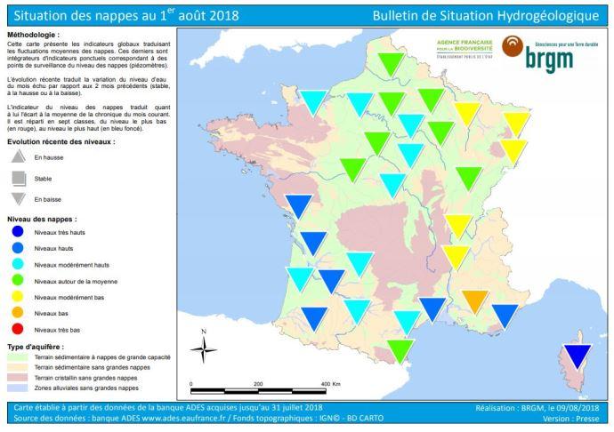 Situation des nappes phréatiques au 1er août 2018.