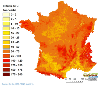 Stock de carbone dans les sols de France, 2007. © GIS Sol
