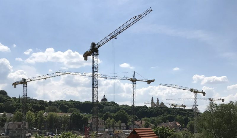 A mass of cranes in central Vilnius indicates investment in its future