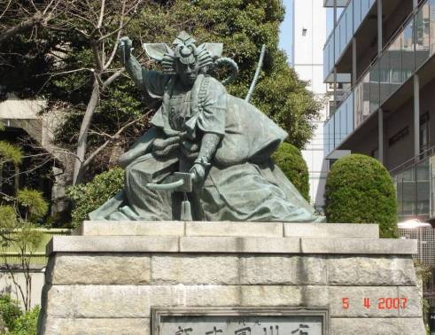Bronze Statue famous Kabuki Actor in Asakusa Kannon temple grounds