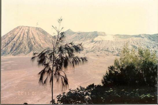 View across sand sea to Mt Bromo