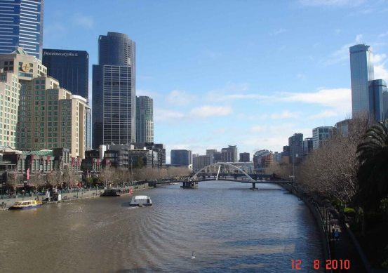 View across the Yarra River to Southgate Places to visit Melbourne