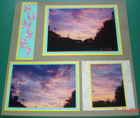 Sunset--'the skies the limit'. Scrapbooking Tips