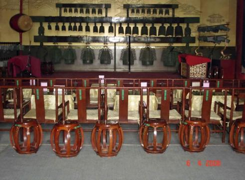 Xian City Bell Tower view ancient-bronze chime-bells-&-round chairs with eight legs