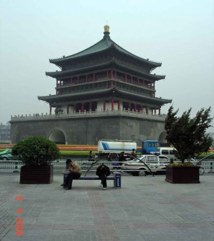 Xian City The-Bell-Tower-a three tiered structure built in the Ming Dynasty style
