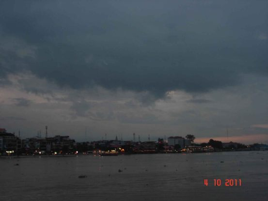City view Phnom Penh at twilight. Mekong Cruise.