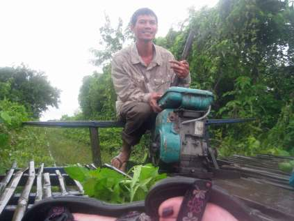 Our friendly Norry driver - Bamboo train outside Battembam