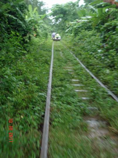 Fast and furious, a ride on a Norry or bamboo train,outside Battambang