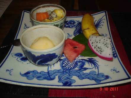 Restaurant Phnom Penh delicious Khmer food dessert with Dragon Fruit