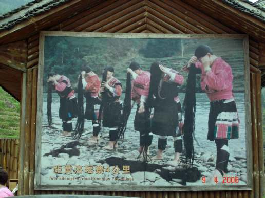 Billboard of Yao Women with their long black tresses-Longsheng rice terrace