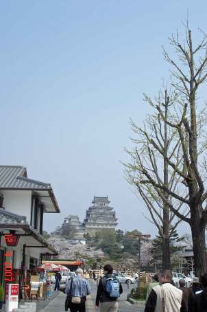 View of Hameji Castle walking down Otemae Street towards bridge and castle