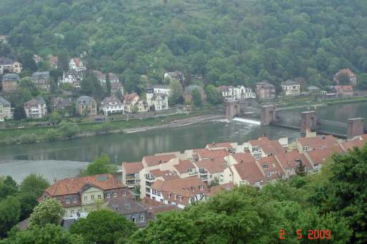 View from Heidelberg castle ruins to weir on Nectar river Heidelberg
