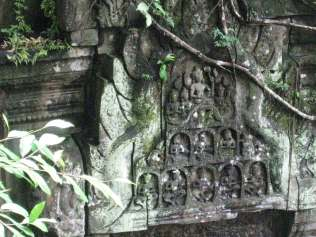 "Carvings Hindu god Shiva - ""Blue Ruins' Beng Mealea"