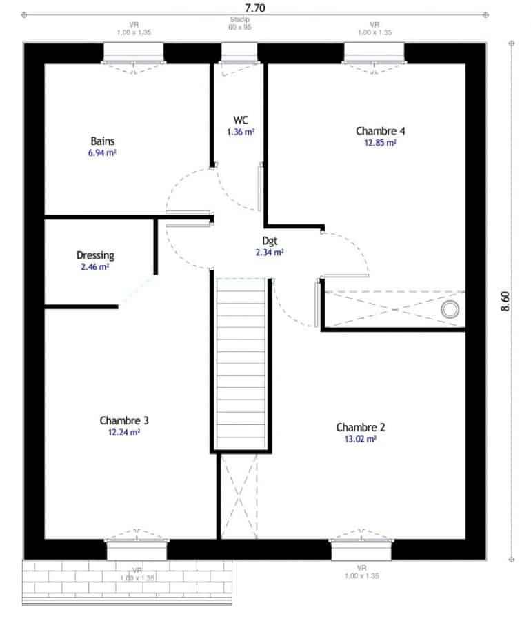 plan de maison a 4 chambres selection