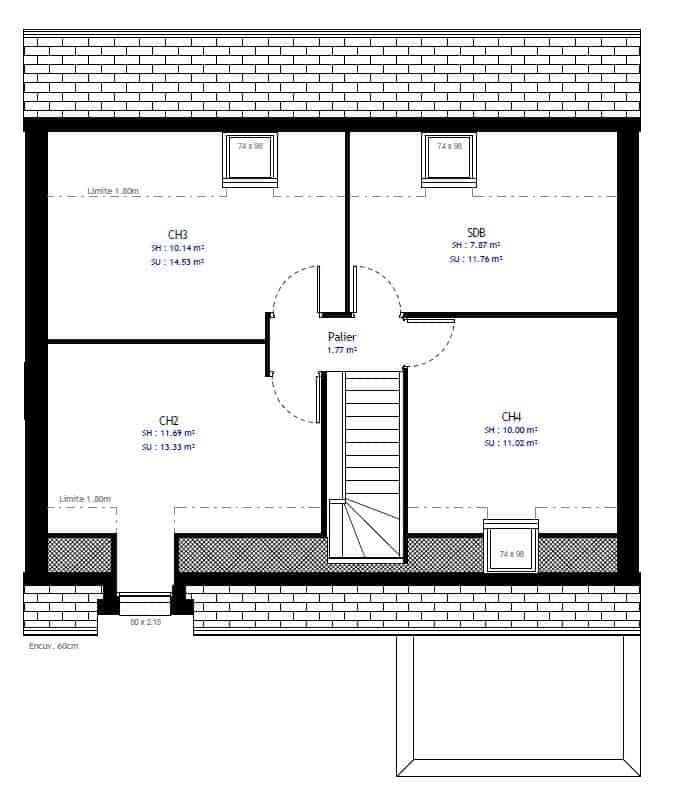 avec ce plan de maison a 4 chambres et 2 salles de bain sur seulement 100 m habitables le defi est releve pour cette maison contemporaine
