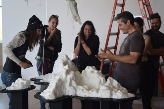 08. Mesh being installed at the Esker Foundation (Mia Feuer, center), 2015