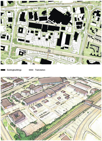 Top: Greyfield site next to a train station. Bottom: Overscaled parking and dispersed buildings underutilize the site.