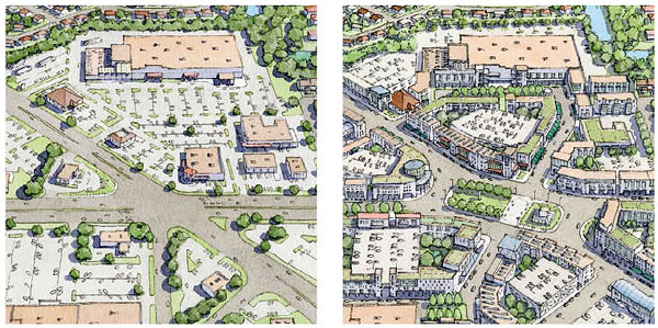 Left: Commercial sprawl. Right: Complete community.