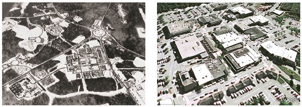 Left: Mashpee Commons, Massachusetts, 1960s shopping center. Right: Transformation into a town center in the 2000s.