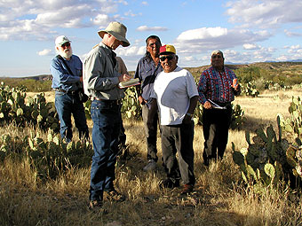 Tohono O'odham cultural advisors and  anthropologists at the Sosa Site, San Pedro  Ethnohistory Project.