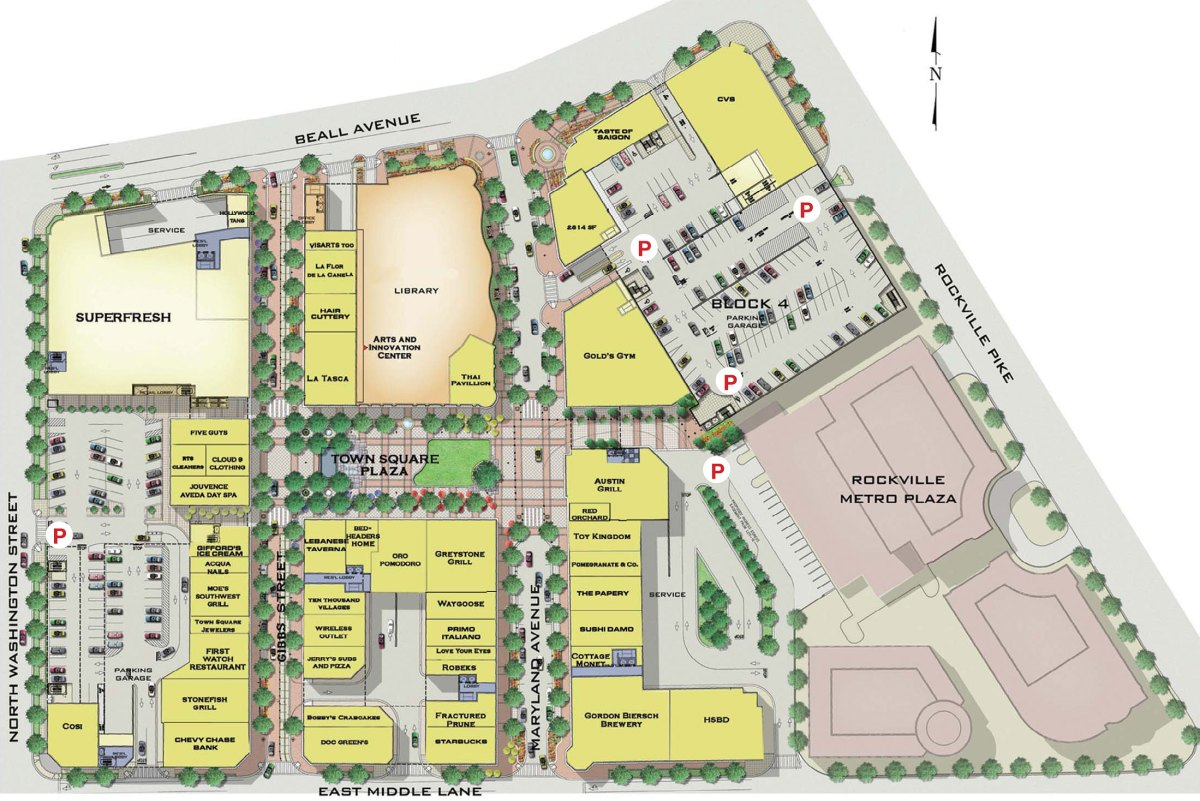 Rockville Town Square site plan.