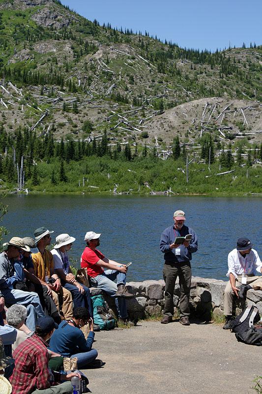 Reading poetry at Meta Lake