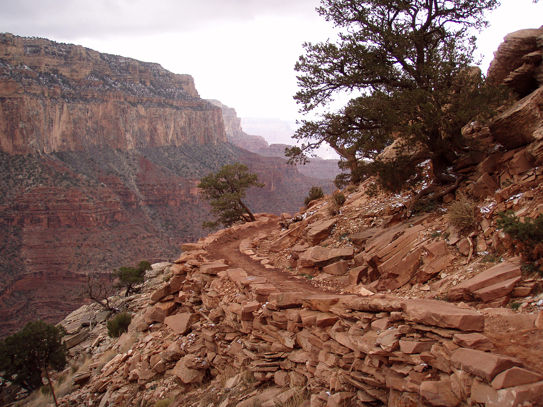 Old CCC retaining wall on South Kaibab Trail