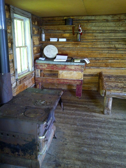 Interior of Grey Owl's cabin.
