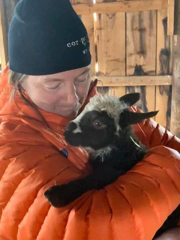 Pam holding newborn lamb