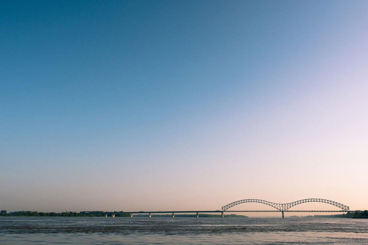 The Hernando de Soto Bridge over the Mississippi River.