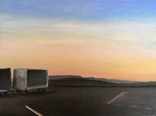 A painting of the tarmac in the Bozeman airport by Christopher Schaberg. Image courtesy Christopher Schaberg.