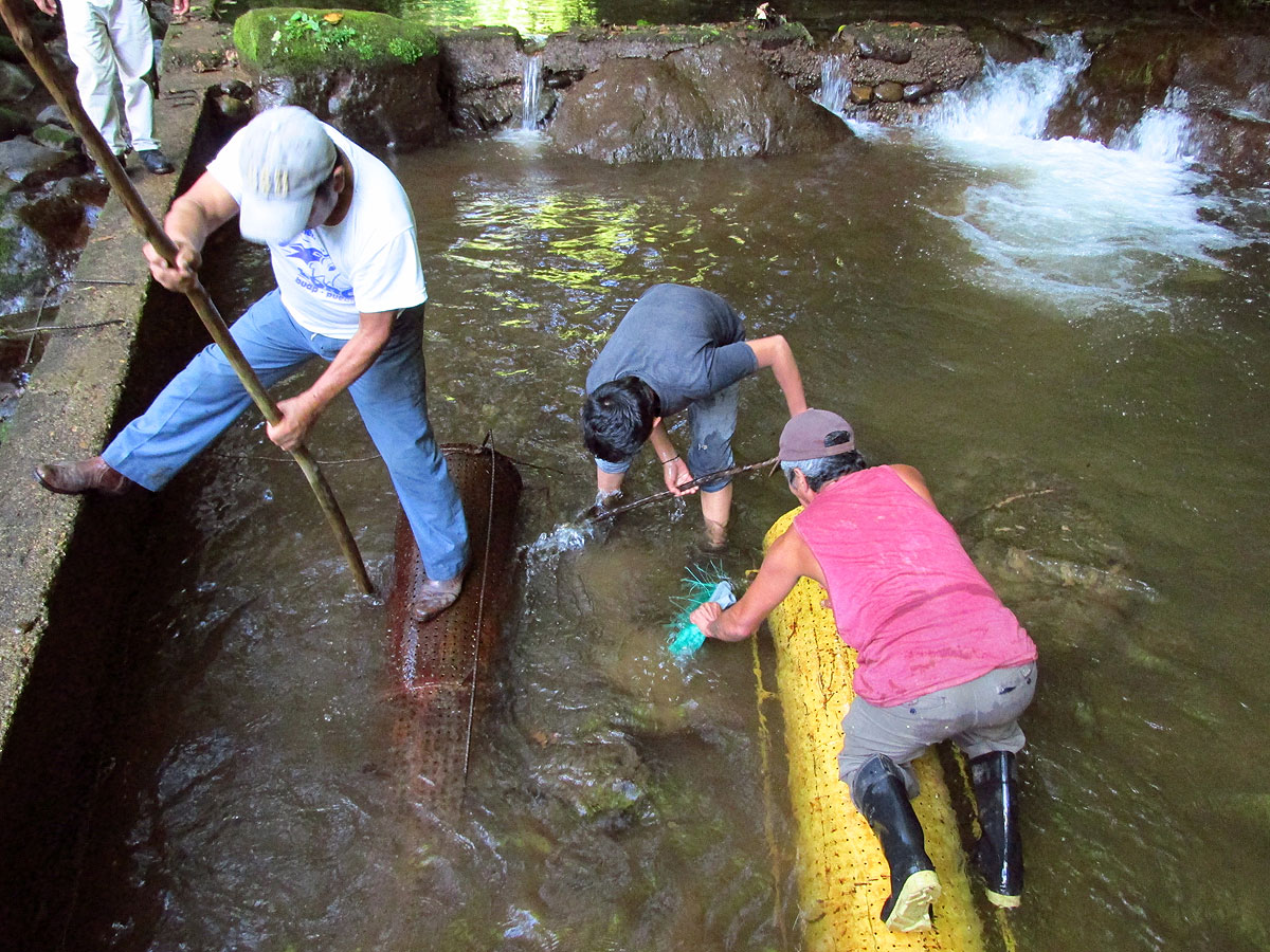 Members of a water committee cleaning the tank that supplies their community with drinking water. Photo by Noah Silber-Coats.