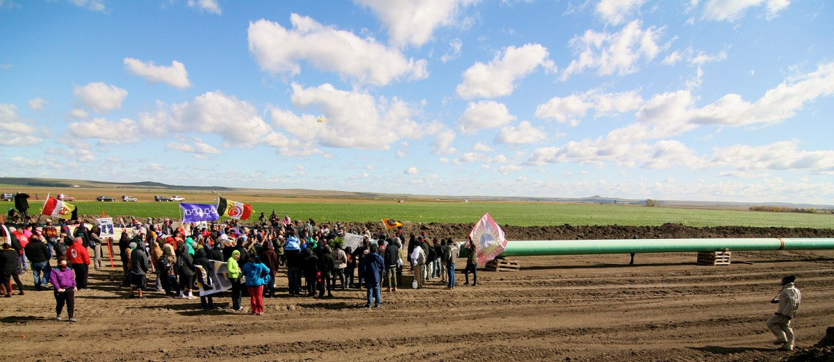Demonstrating at the pipeline