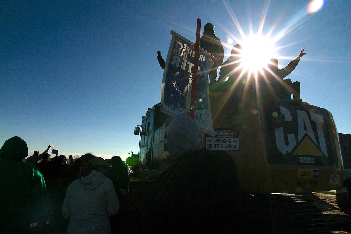 Demonstrators on a truck