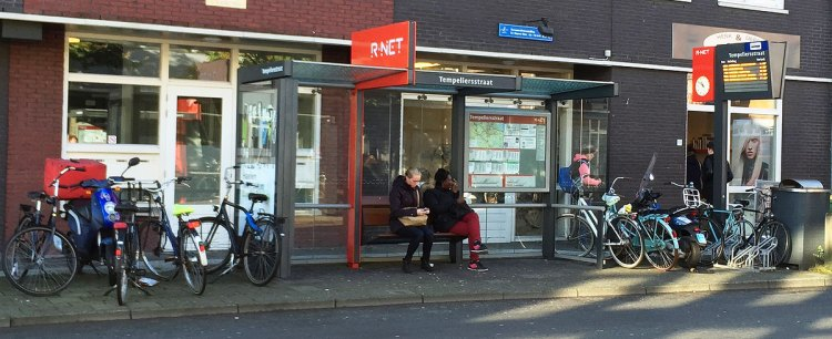 Waiting for the bus in Haarlem