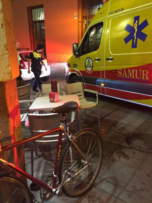An ambulance, blood, and my bike