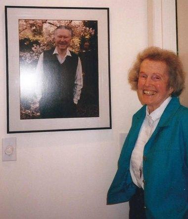Dorothy Stafford with photo of William Stafford.