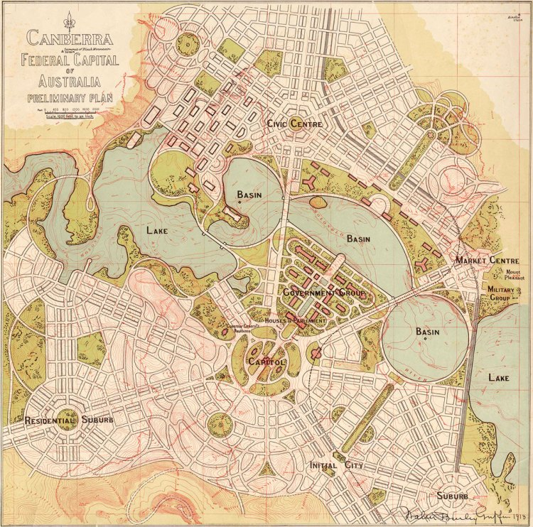 Preliminary plan of Canberra by Walter Burley Griffin