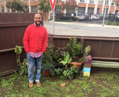 Vernon Keeve III in his yard