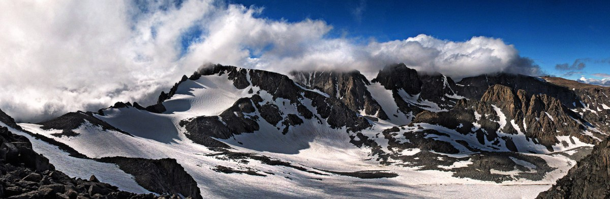 Panoramic photograph of Sacagawea Glacier in the Wind River Range