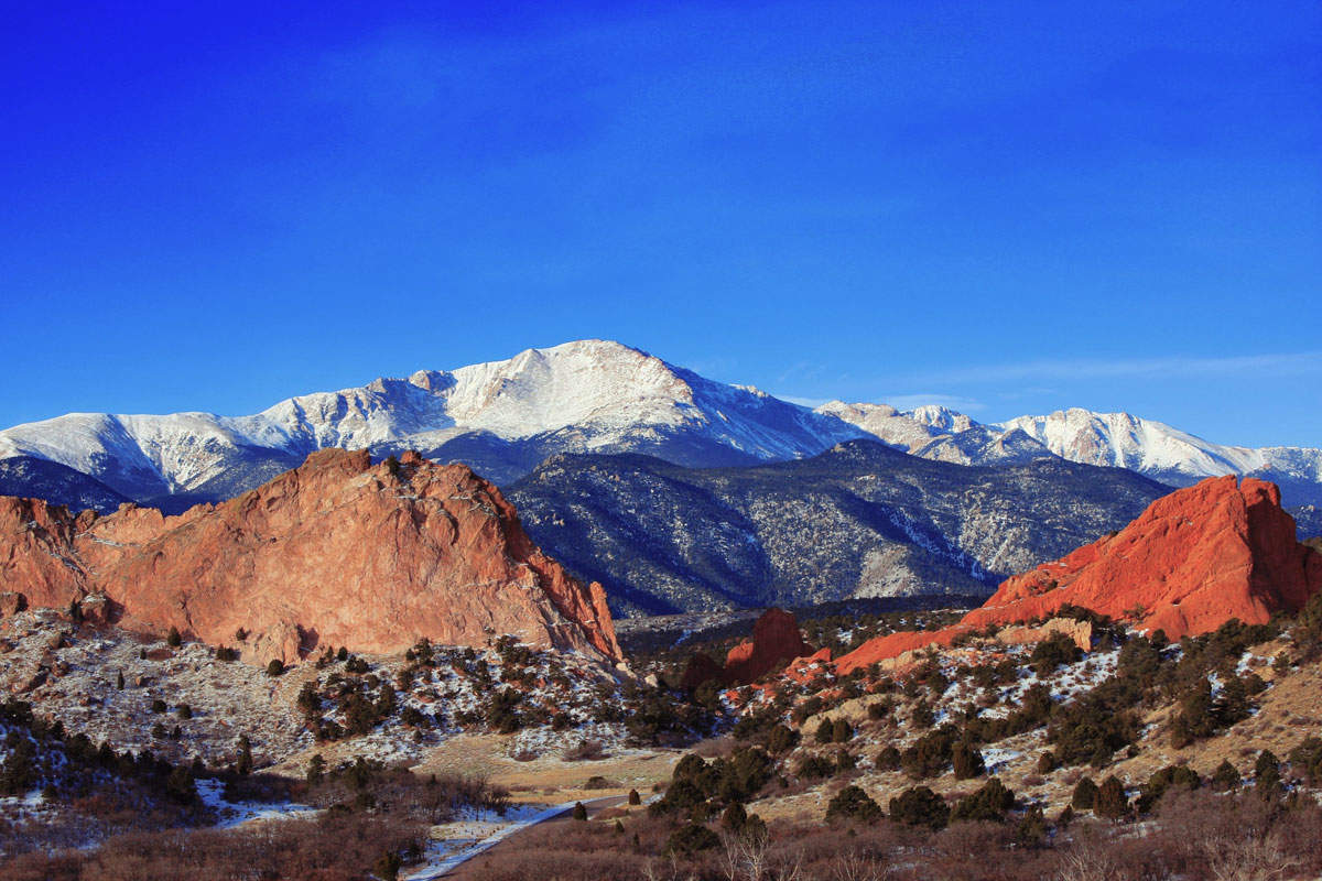 Pikes Peak viewed from Garden of the Gods