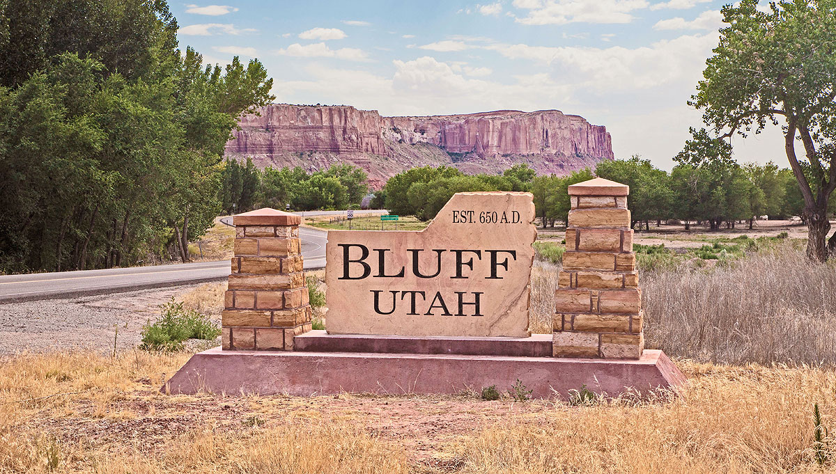Entrance to Bluff, Utah.