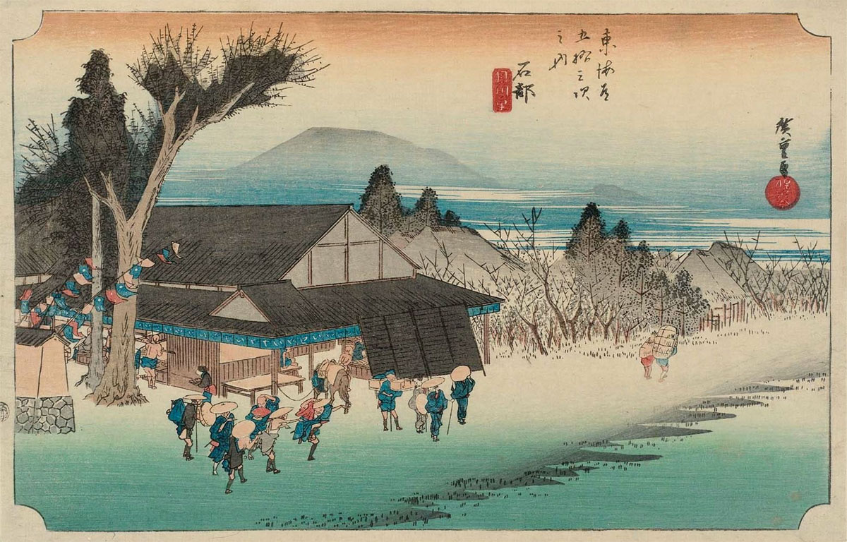 53 Stations of the Tokaido: Ishibe, by Ando Hiroshige