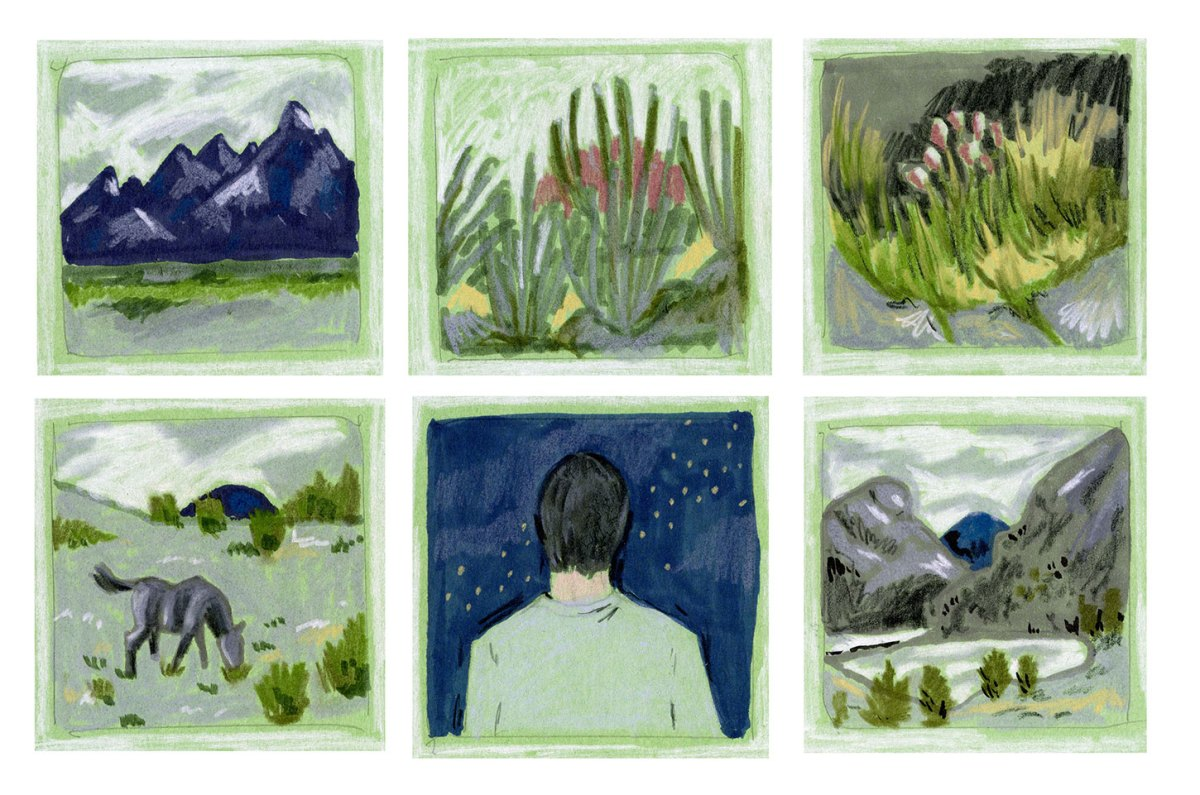 Six-panel strip of mountains, plans, landscape, and father looking at stars. Image by Martha Park.