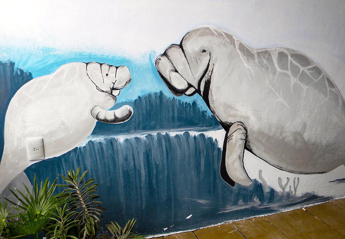 Wall mural of manatees