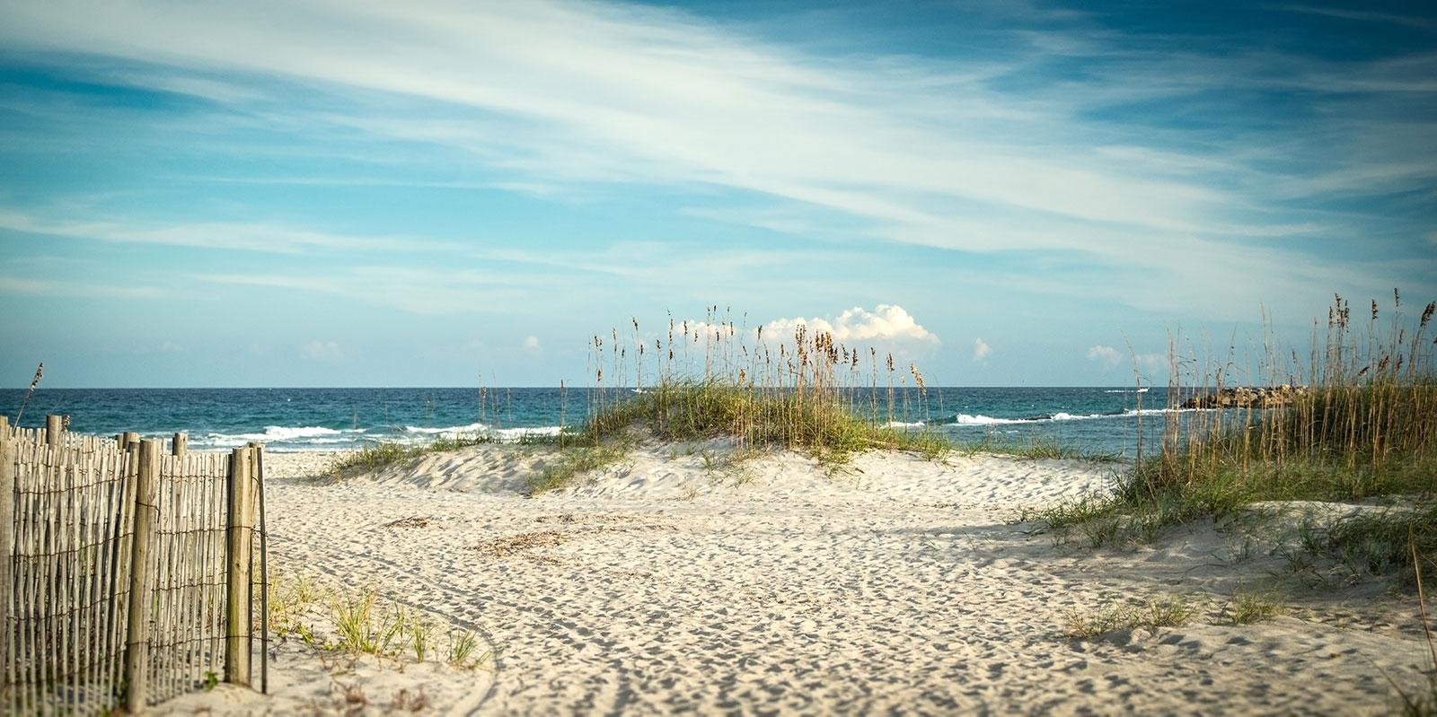 North Carolina coast with dunes