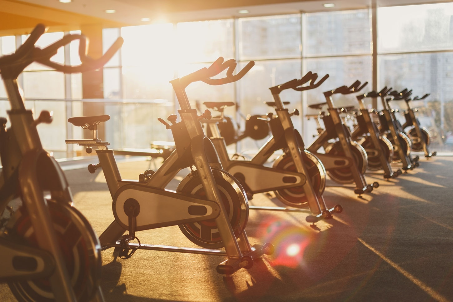 Afternoon light on empty fitness center