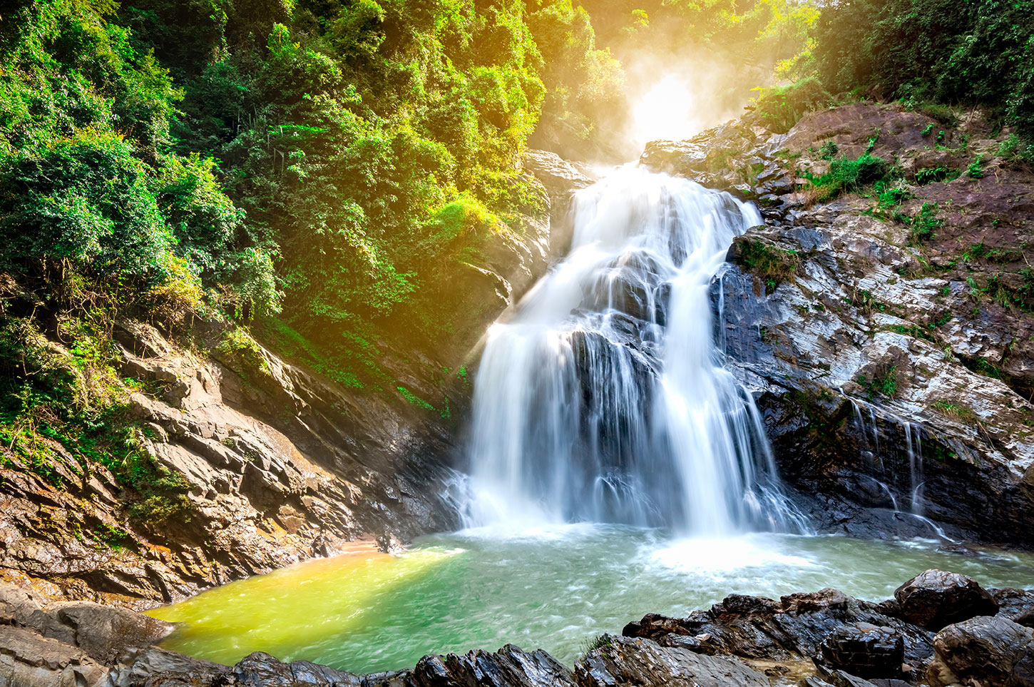 Waterfall with glowing light