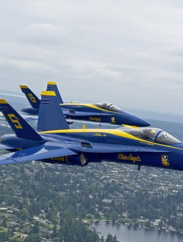Two Blue Angels jets over Seattle